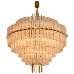 Very Large Circular Chandelier in Brass and Structured Glass