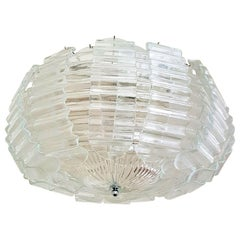 Very Large Clear Murano Glass Mid-Century Modern Chandelier by Barovier, 1970s