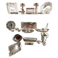 Very Large Collection of Arthur Court Pewter Trays, Candle Sticks, Serving Piece