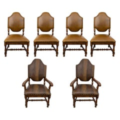 Very Large, Comfortable Set of Six Leather Chairs