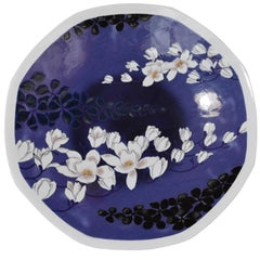 Large Black Purple Porcelain Charger by Contemporary Japanese Master Artist