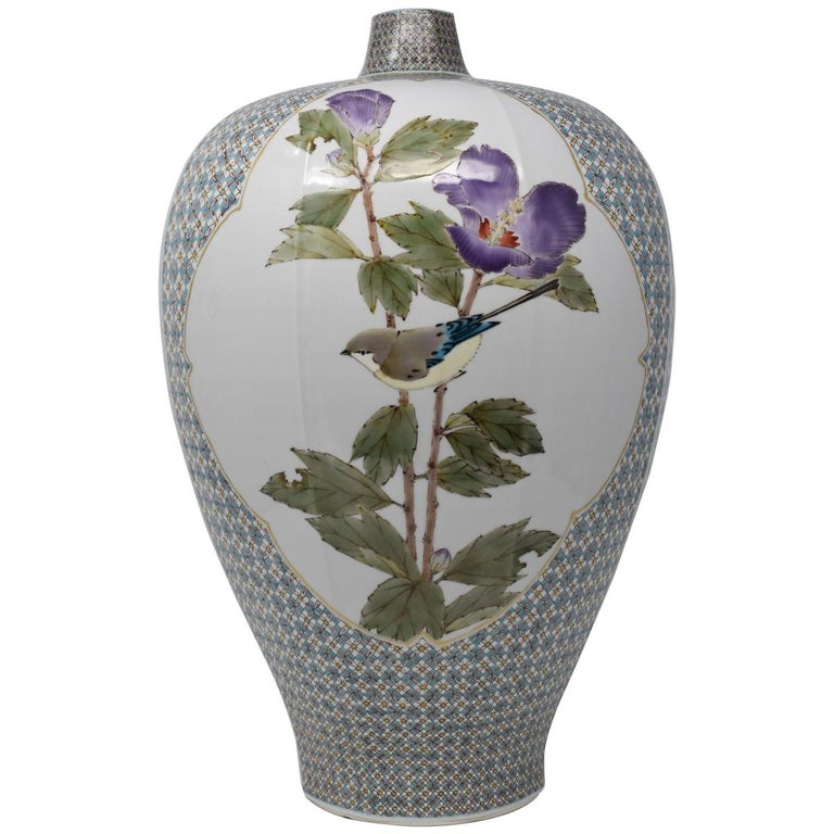 Hand-Painted Very Large Contemporary Japanese Blue Red Kutani Porcelain Vase by Master Artist For Sale