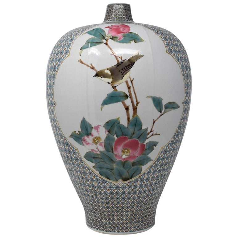 Very Large Contemporary Japanese Blue Red Kutani Porcelain Vase by Master Artist For Sale