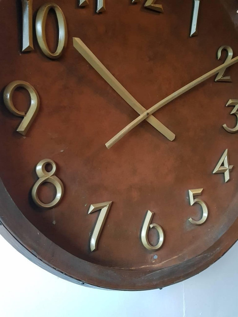 Very Large Size And Rare Copper Vintage Wall Clock From The 1960s Clockwork Does Not