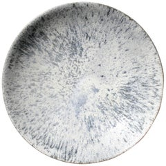 Very Large Curved Platter in White & Blue Glaze