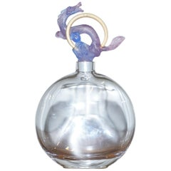 Very Large Daum France Glass Scent Perfume Bottle with Chinese Dragon Cock Top