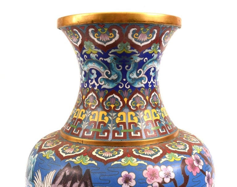 European Very Large Decorative Cloisonné with Blossom Flowers Vase or Piece For Sale