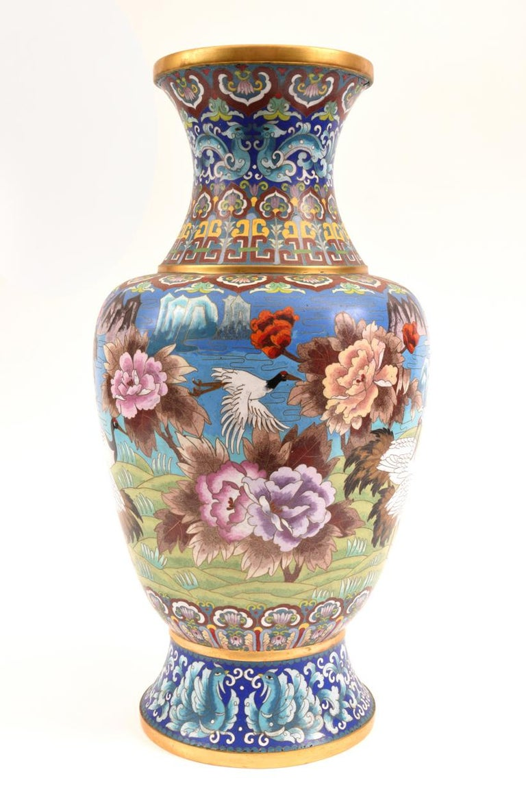 Mid-20th Century Very Large Decorative Cloisonné with Blossom Flowers Vase or Piece For Sale
