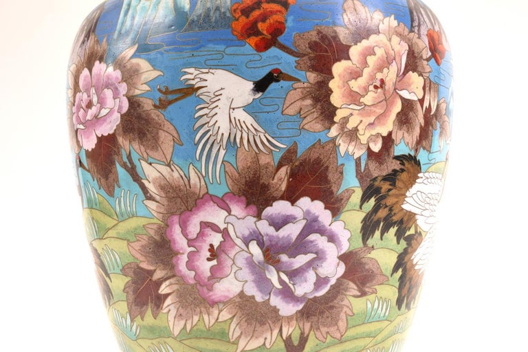 Very Large Decorative Cloisonné with Blossom Flowers Vase or Piece For Sale 2