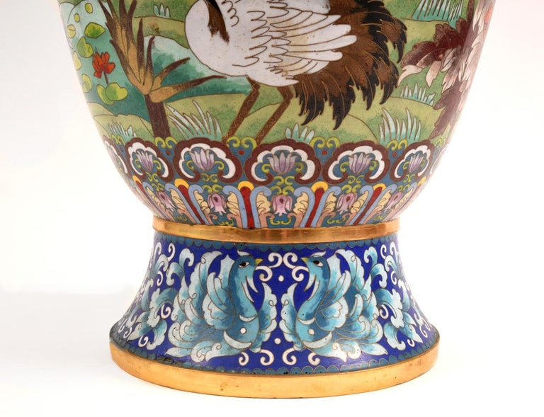 Very Large Decorative Cloisonné with Blossom Flowers Vase or Piece For Sale 3