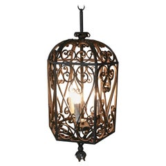 Very Large Decorative Wrought Iron Porch Lantern