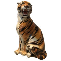 Very Large Dramatic Ceramic Tiger Statue