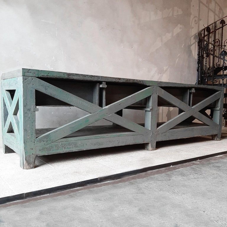 Very Large Dutch Workbench from the 1950s with Original Old Paint Remnants For Sale 6