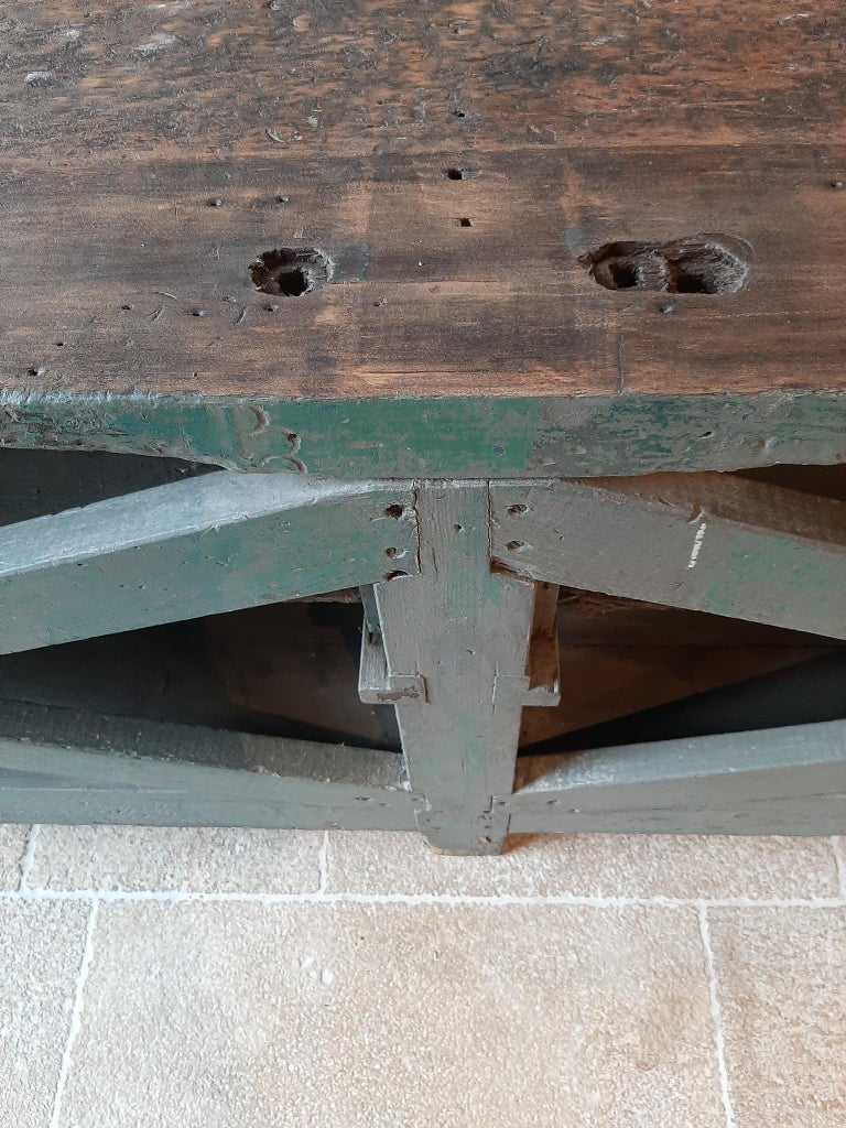 Very Large Dutch Workbench from the 1950s with Original Old Paint Remnants For Sale 7