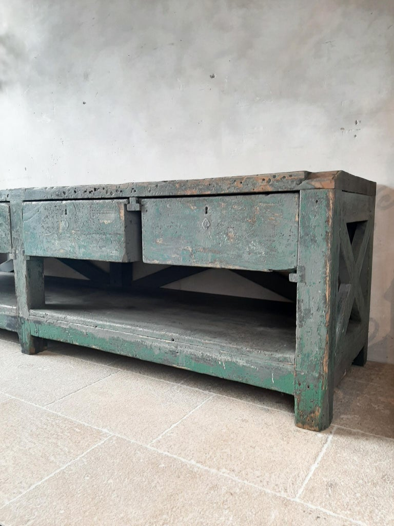 20th Century Very Large Dutch Workbench from the 1950s with Original Old Paint Remnants For Sale