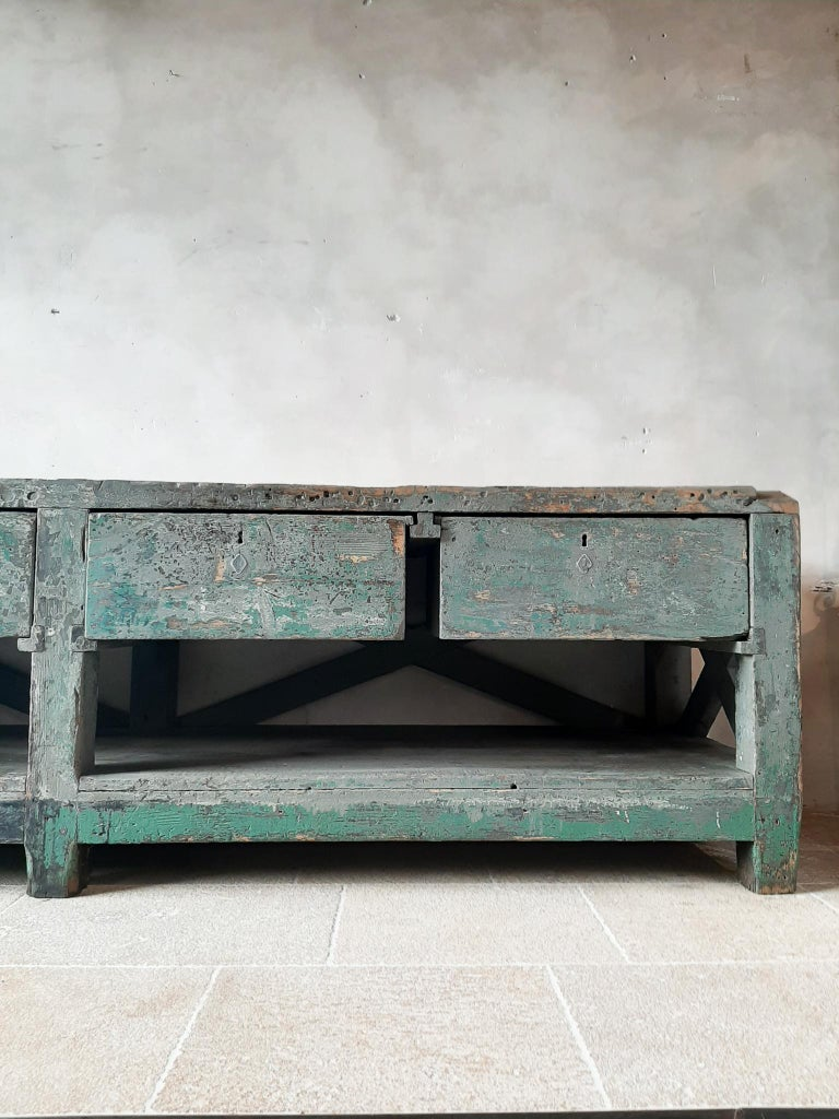 Very Large Dutch Workbench from the 1950s with Original Old Paint Remnants For Sale 2