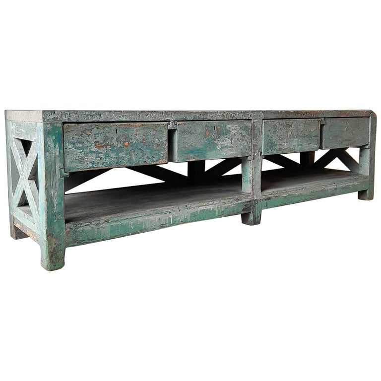 Very Large Dutch Workbench from the 1950s with Original Old Paint Remnants For Sale
