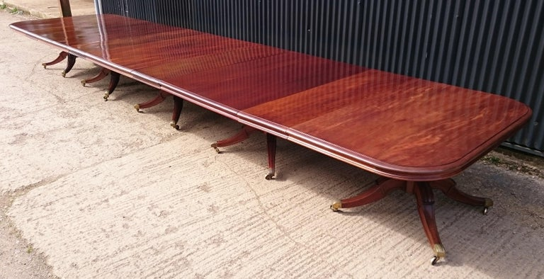 19th Century Very Large Early Nineteenth Century Five Pedestal Irish Antique Dining Table For Sale