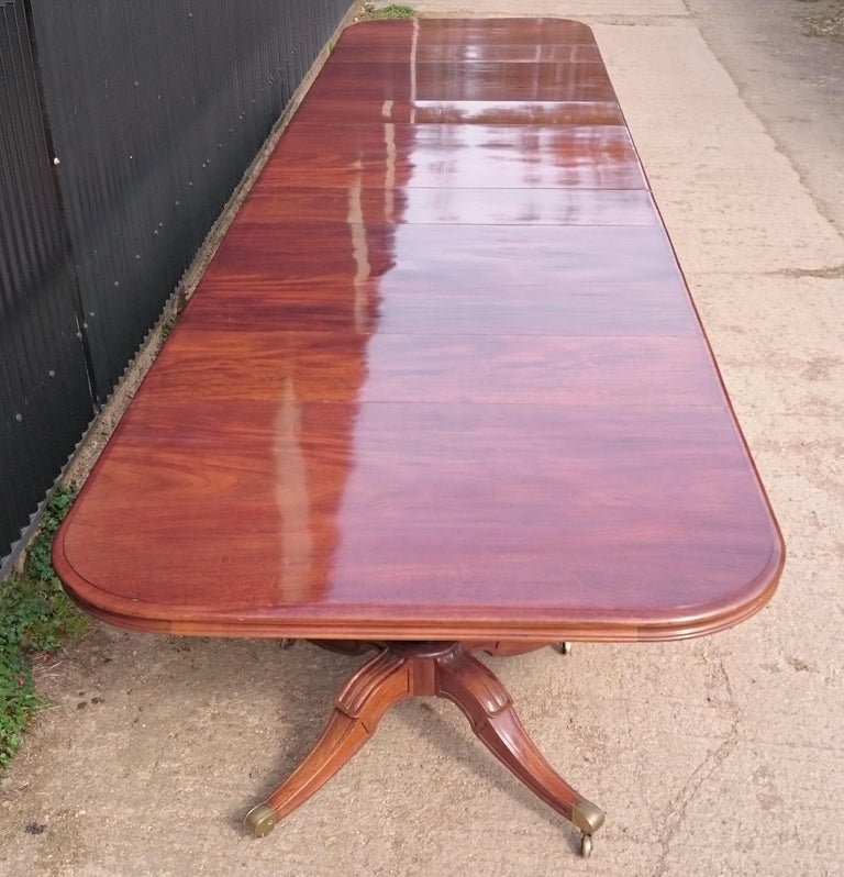 Mahogany Very Large Early Nineteenth Century Five Pedestal Irish Antique Dining Table For Sale