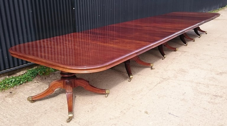 Regency Very Large Early Nineteenth Century Five Pedestal Irish Antique Dining Table For Sale