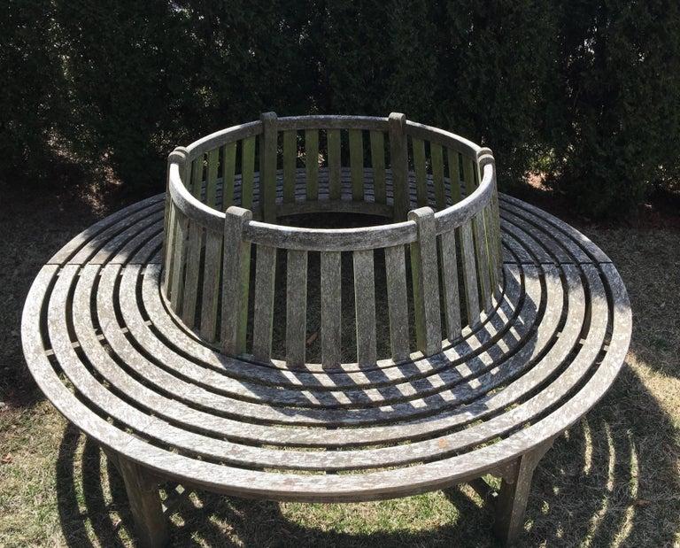 Very Large English Circular Teak Tree Bench For Sale 5
