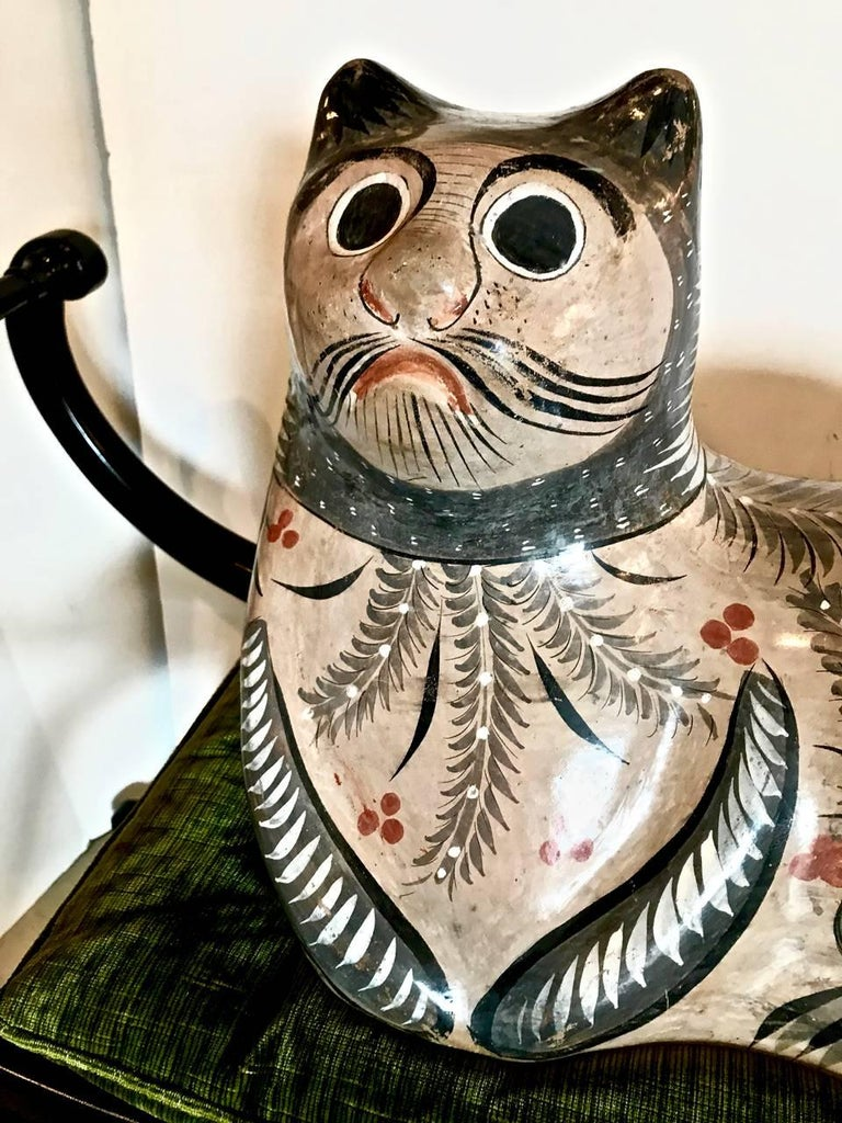 Mexican Very Large Example of a Tonala Cat, Artist Signed For Sale