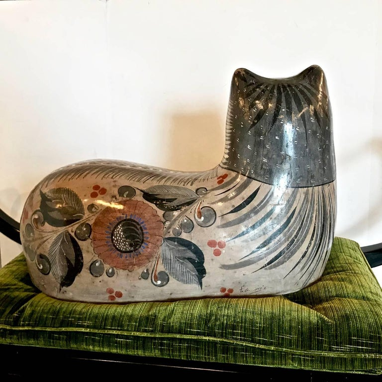 Very Large Example of a Tonala Cat, Artist Signed In Good Condition For Sale In Pasadena, CA