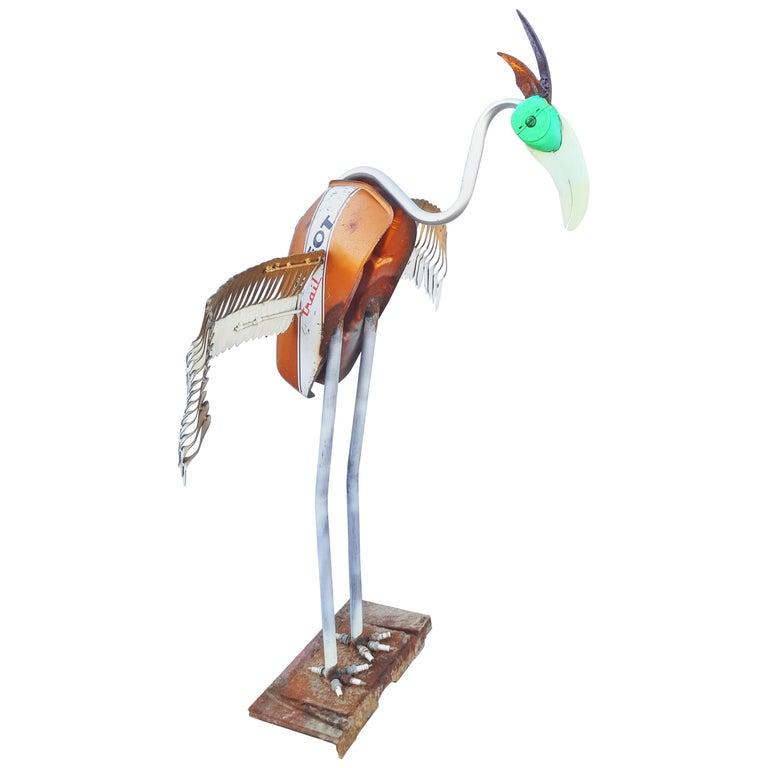 Very Large Flamingo Metal Art Sculpture For Sale