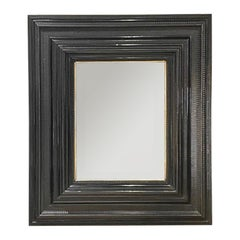 Very Large Flemish Ebonized Mirror, Guilloche Carving, Low Countries, c. 1870