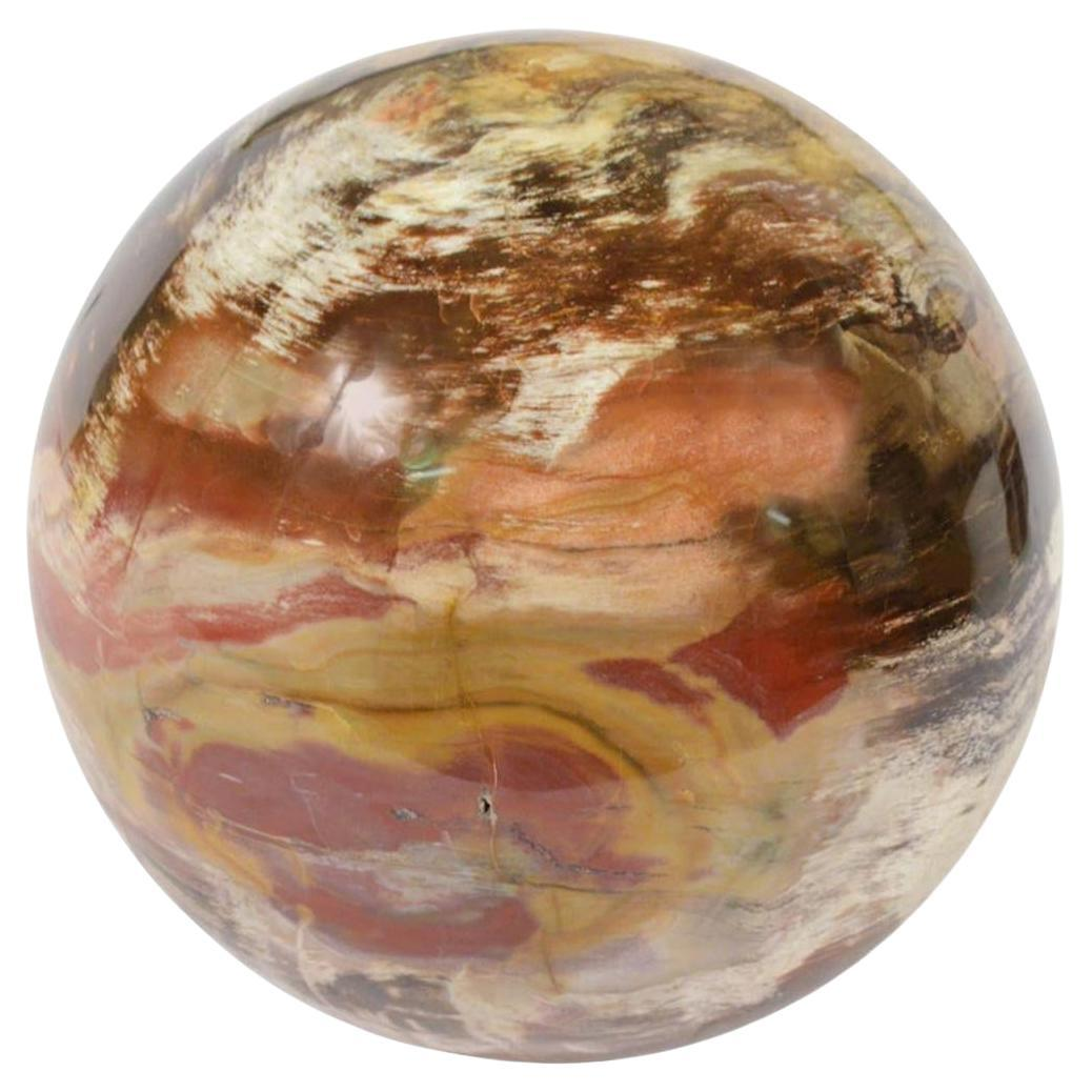 Very Large Fossil Wood Sphere from Madagascar Carved in the 70s