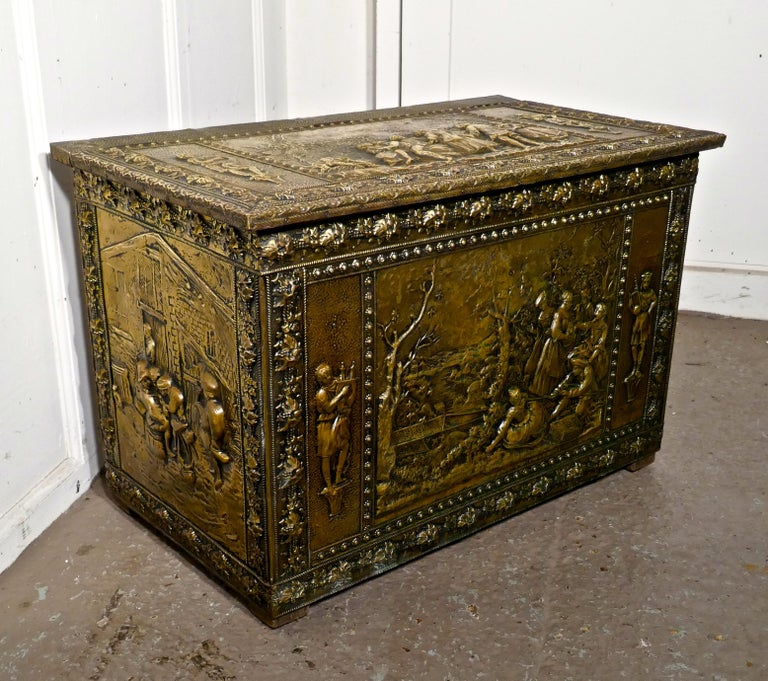 Very Large French Embossed Brass Log Box, with Country Scenes In Good Condition For Sale In ., GB