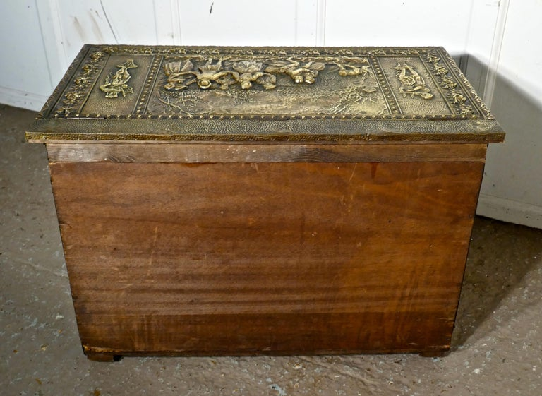 Very Large French Embossed Brass Log Box, with Country Scenes For Sale 1