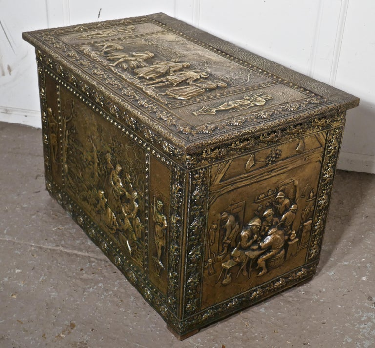 Very Large French Embossed Brass Log Box, with Country Scenes For Sale 2