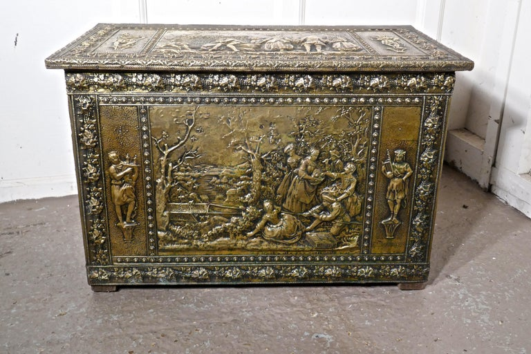 Very Large French Embossed Brass Log Box, with Country Scenes For Sale 3