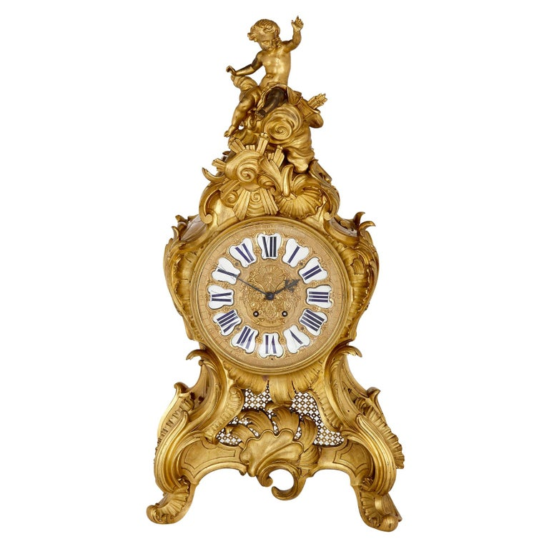 Very Large French Louis XV Style Ormolu Mantel Clock For Sale