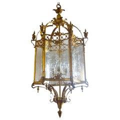 Huge French Regency Style Hexagonal Bronze Cut-Glass Four-Light Lantern