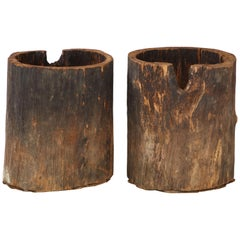 Very Large French Wood Primitive Vessels/Planters, circa 1900