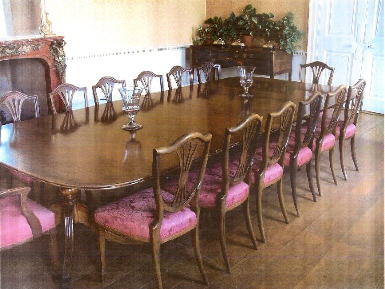 Very Large George III Period Mahogany Four Pedestal Antique Dining Table For Sale 3