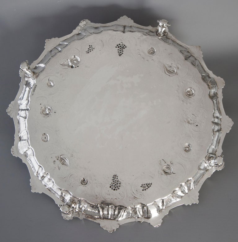 George III Very Large Georgian Silver Salver or Tray, London, 1810 For Sale