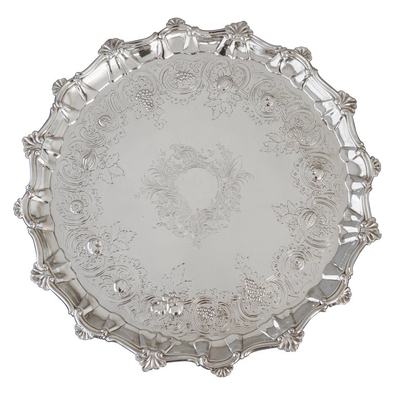 Very Large Georgian Silver Salver or Tray, London, 1810 For Sale
