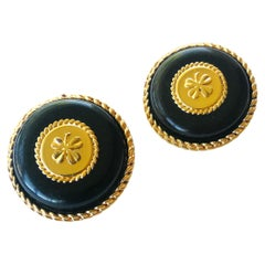 Very large gilt and resin 'lucky four leaf clover' earrings, Chanel, 1960s