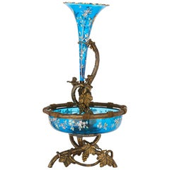 Very Large Gilt Bronze and Bohemian Blue Enameled Glass Centerpiece