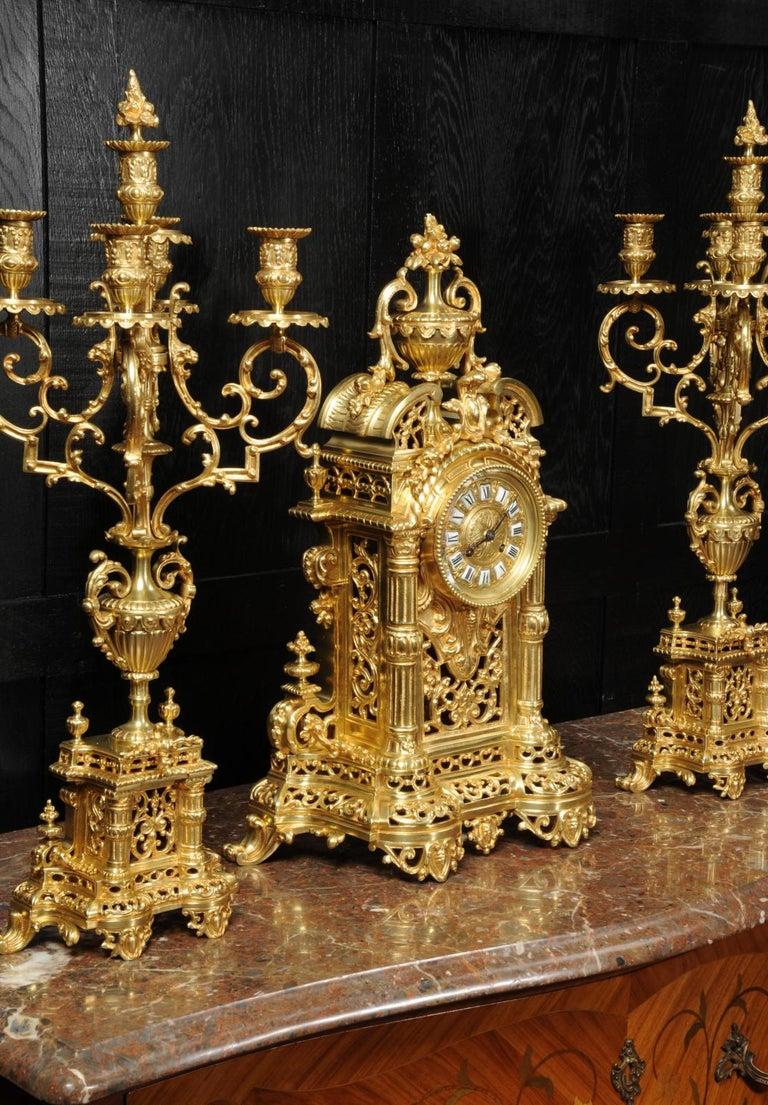 Very Large Gilt Bronze Baroque Clock Set Antique French 7