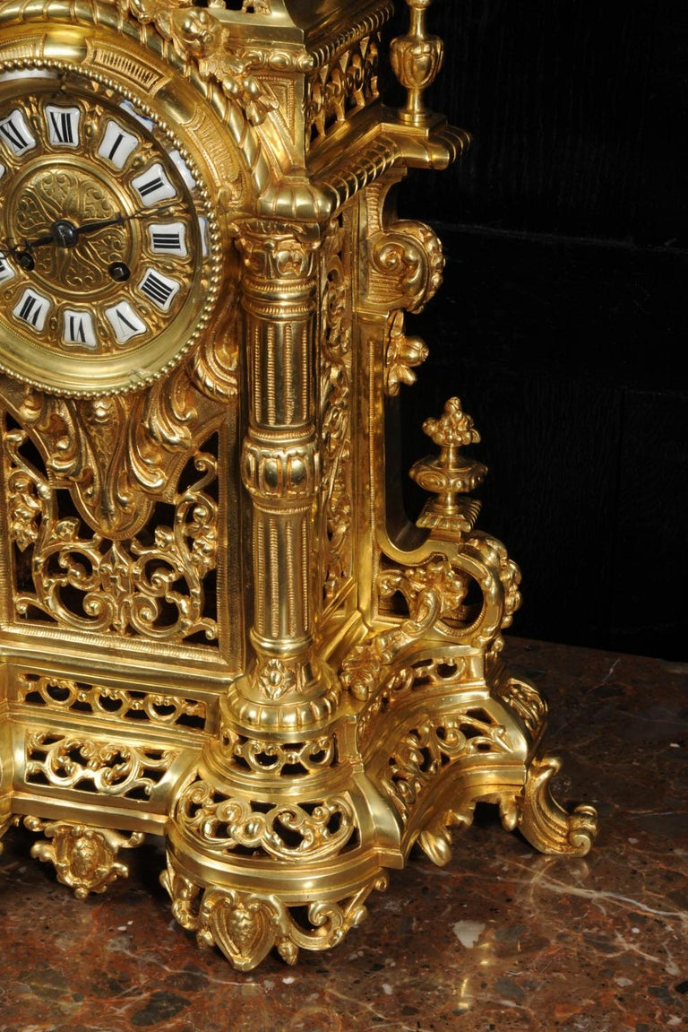 Very Large Gilt Bronze Baroque Clock Set Antique French 8