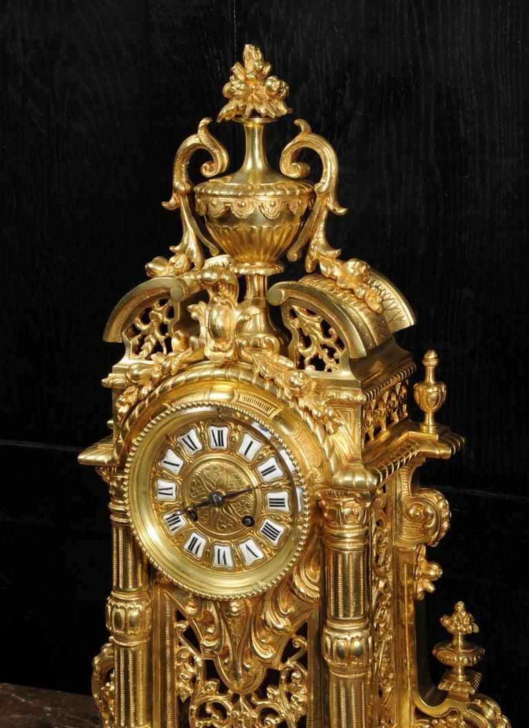 Very Large Gilt Bronze Baroque Clock Set Antique French 9