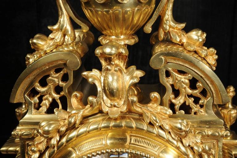 Very Large Gilt Bronze Baroque Clock Set Antique French 10