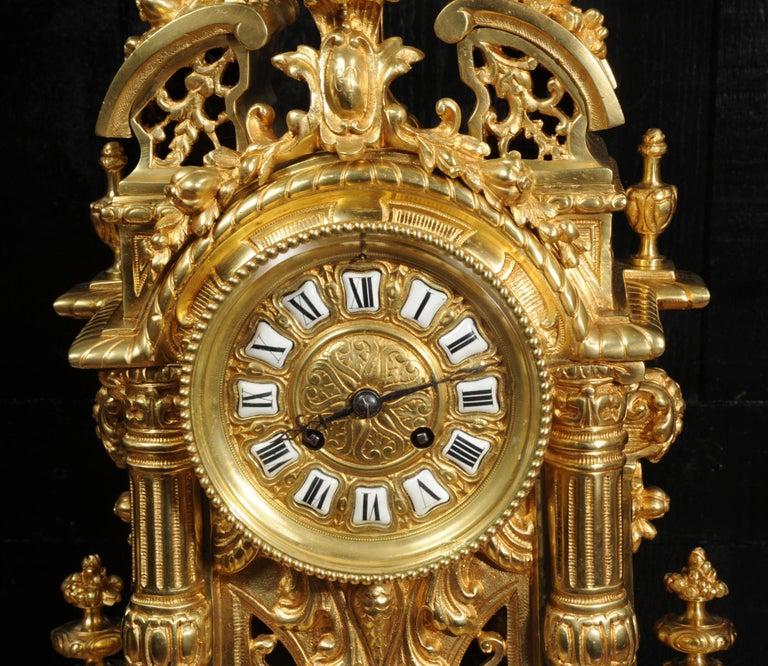 Very Large Gilt Bronze Baroque Clock Set Antique French 11