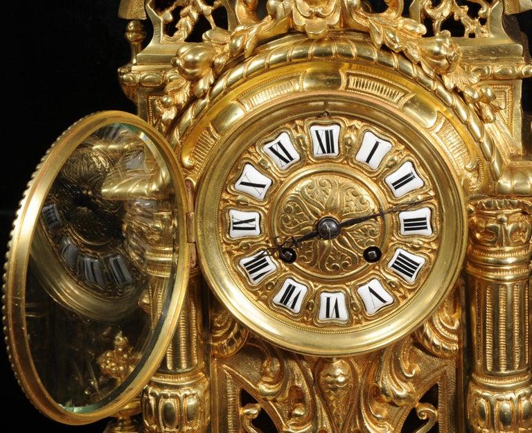 Very Large Gilt Bronze Baroque Clock Set Antique French 12