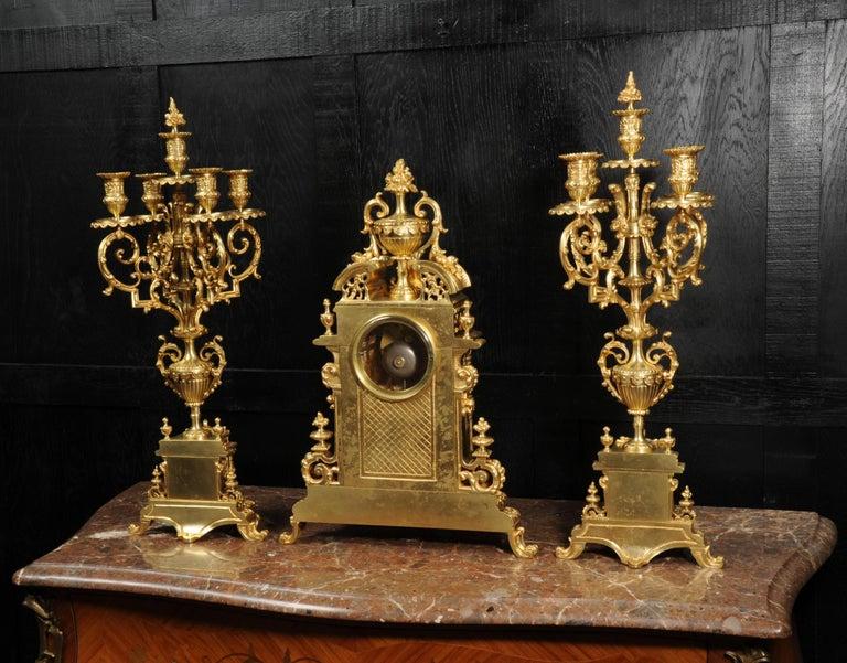 Very Large Gilt Bronze Baroque Clock Set Antique French 14