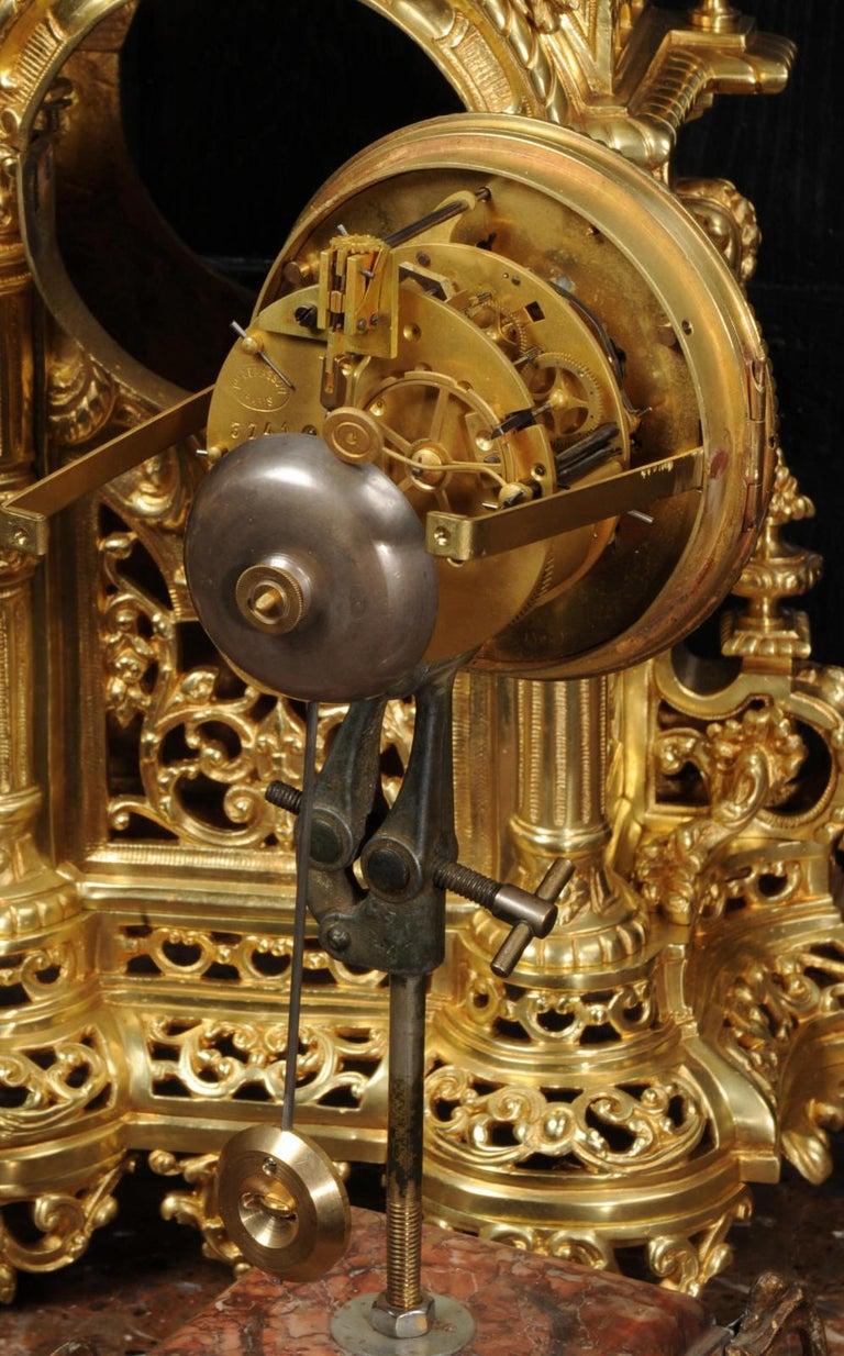 Very Large Gilt Bronze Baroque Clock Set Antique French 15